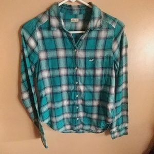 Hollister XS Turquoise botton down top